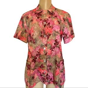 VTG 1960's-70's Retro Floral Collared Button Up Short Sleeve Shirt